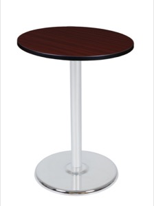 "Via Cafe High-Top 30"" Round Platter Base Table - Mahogany/Chrome"