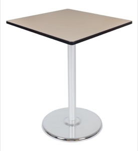"Via Cafe High-Top 36"" Square Platter Base Table - Beige/Chrome"