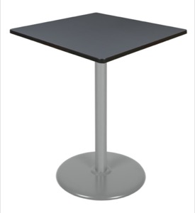 "Via Cafe High-Top 36"" Square Platter Base Table - Grey/Grey"