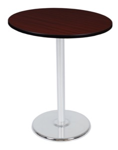 "Via Cafe High-Top 36"" Round Platter Base Table - Mahogany/Chrome"