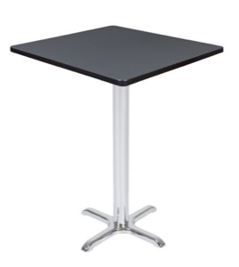 "Via Cafe High 30"" Square X-Base Table - Grey/Chrome"