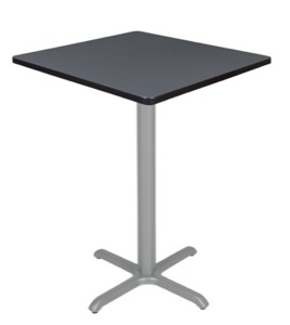 "Via Cafe High 30"" Square X-Base Table - Grey/Grey"