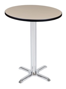 "Via Cafe High 30"" Round X-Base Table - Beige/Chrome"