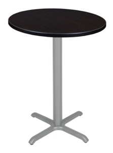 "Via Cafe High 30"" Round X-Base Table - Mocha Walnut/Grey"