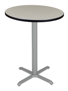 "Via Cafe High 30"" Round X-Base Table - Maple/Grey"