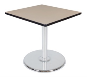 "Via 30"" Square Platter Base Table - Beige/Chrome"