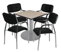 "Via 30"" Square Platter Base Table - Beige/Grey & 4 Uptown Side Chairs - Black"