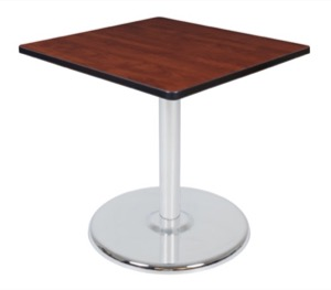 "Via 30"" Square Platter Base Table - Cherry/Chrome"