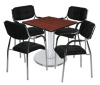"Via 30"" Square Platter Base Table - Cherry/Chrome & 4 Uptown Side Chairs - Black"