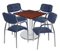 "Via 30"" Square Platter Base Table - Cherry/Chrome & 4 Uptown Side Chairs - Navy"