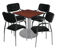 "Via 30"" Square Platter Base Table - Cherry/Grey & 4 Uptown Side Chairs - Black"
