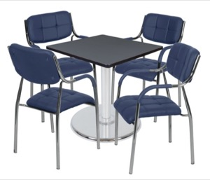"Via 30"" Square Platter Base Table - Grey/Chrome & 4 Uptown Side Chairs - Navy"