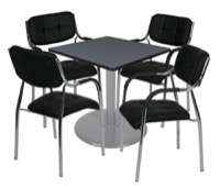 "Via 30"" Square Platter Base Table - Grey/Grey & 4 Uptown Side Chairs - Black"