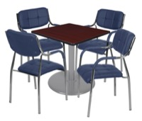 "Via 30"" Square Platter Base Table - Mahogany/Grey & 4 Uptown Side Chairs - Navy"