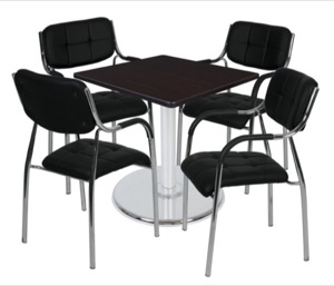 "Via 30"" Square Platter Base Table - Mocha Walnut/Chrome & 4 Uptown Side Chairs - Black"