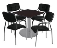 "Via 30"" Square Platter Base Table - Mocha Walnut/Grey & 4 Uptown Side Chairs - Black"