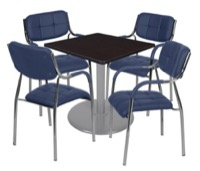 "Via 30"" Square Platter Base Table - Mocha Walnut/Grey & 4 Uptown Side Chairs - Navy"