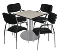 "Via 30"" Square Platter Base Table - Maple/Grey & 4 Uptown Side Chairs - Black"