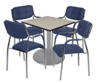 "Via 30"" Square Platter Base Table - Maple/Grey & 4 Uptown Side Chairs - Navy"