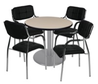 "Via 30"" Round Platter Base Table - Beige/Grey & 4 Uptown Side Chairs - Black"
