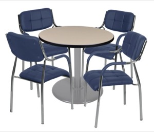 "Via 30"" Round Platter Base Table - Beige/Grey & 4 Uptown Side Chairs - Navy"