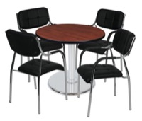 "Via 30"" Round Platter Base Table - Cherry/Chrome & 4 Uptown Side Chairs - Black"