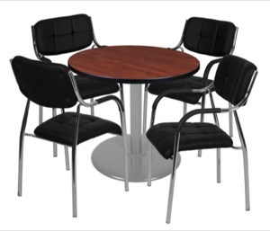 "Via 30"" Round Platter Base Table - Cherry/Grey & 4 Uptown Side Chairs - Black"