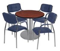 "Via 30"" Round Platter Base Table - Cherry/Grey & 4 Uptown Side Chairs - Navy"