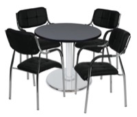 "Via 30"" Round Platter Base Table - Grey/Chrome & 4 Uptown Side Chairs - Black"