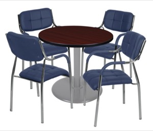 "Via 30"" Round Platter Base Table - Mahogany/Grey & 4 Uptown Side Chairs - Navy"