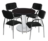 "Via 30"" Round Platter Base Table - Mocha Walnut/Chrome & 4 Uptown Side Chairs - Black"