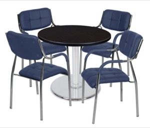 "Via 30"" Round Platter Base Table - Mocha Walnut/Chrome & 4 Uptown Side Chairs - Navy"