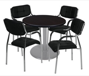 "Via 30"" Round Platter Base Table - Mocha Walnut/Grey & 4 Uptown Side Chairs - Black"