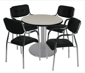 "Via 30"" Round Platter Base Table - Maple/Grey & 4 Uptown Side Chairs - Black"