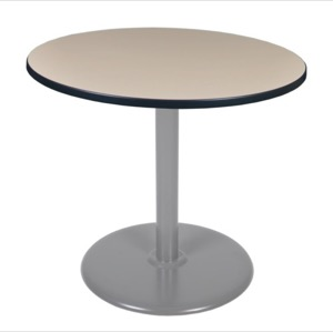 "Via 36"" Round Platter Base Table - Beige/Grey"