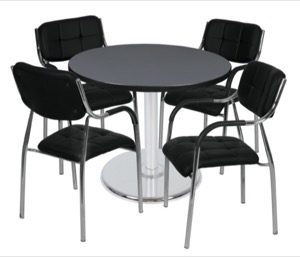"Via 36"" Round Platter Base Table - Grey/Chrome & 4 Uptown Side Chairs - Black"