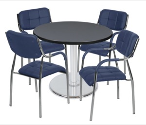 "Via 36"" Round Platter Base Table - Grey/Chrome & 4 Uptown Side Chairs - Navy"