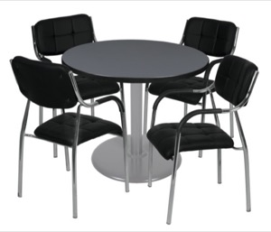 "Via 36"" Round Platter Base Table - Grey/Grey & 4 Uptown Side Chairs - Black"