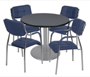 "Via 36"" Round Platter Base Table - Grey/Grey & 4 Uptown Side Chairs - Navy"