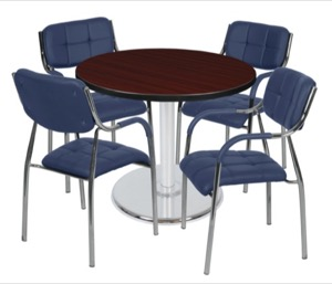 "Via 36"" Round Platter Base Table - Mahogany/Chrome & 4 Uptown Side Chairs - Navy"