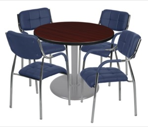 "Via 36"" Round Platter Base Table - Mahogany/Grey & 4 Uptown Side Chairs - Navy"