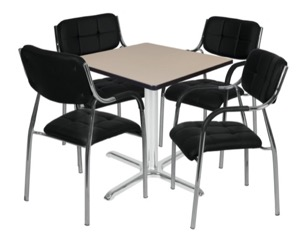"Via 30"" Square X-Base Table - Beige/Chrome & 4 Uptown Side Chairs - Black"