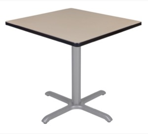 "Via 30"" Square X-Base Table - Beige/Grey"