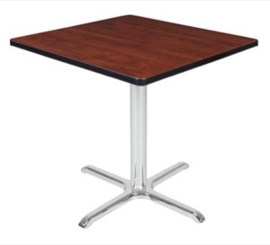 "Via 30"" Square X-Base Table - Cherry/Chrome"
