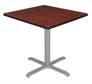 "Via 30"" Square X-Base Table - Cherry/Grey"
