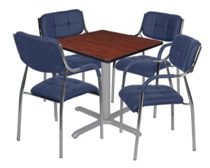 "Via 30"" Square X-Base Table - Cherry/Grey & 4 Uptown Side Chairs - Navy"