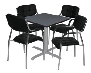 "Via 30"" Square X-Base Table - Grey/Grey & 4 Uptown Side Chairs - Black"