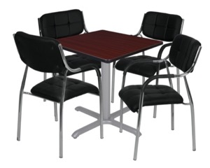 "Via 30"" Square X-Base Table - Mahogany/Grey & 4 Uptown Side Chairs - Black"