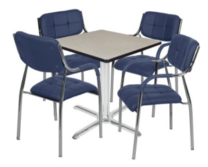 "Via 30"" Square X-Base Table - Maple/Chrome & 4 Uptown Side Chairs - Navy"