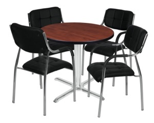"Via 30"" Round X-Base Table - Cherry/Chrome & 4 Uptown Side Chairs - Black"